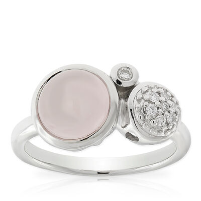 Lisa Bridge Rose Quartz & Diamond Bubble Ring
