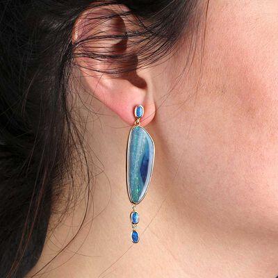 Lisa Bridge COUTURE Opal Doublet Dangle Earrings 18K