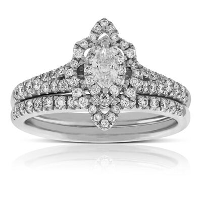 marquise cut diamond wedding set 14k - Vintage Style Wedding Rings