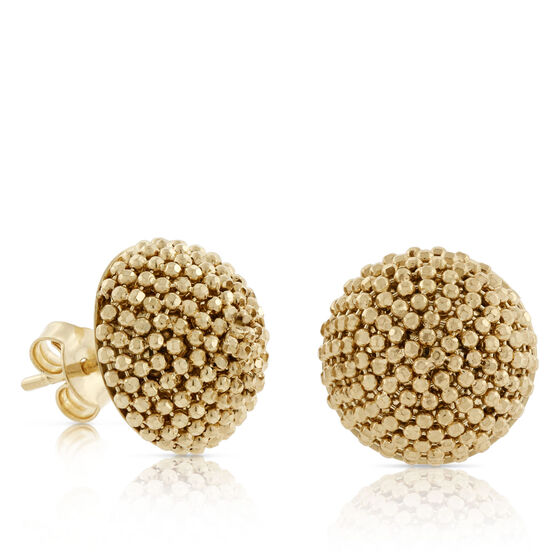Toscano Collection Beaded Dome Earrings 18K