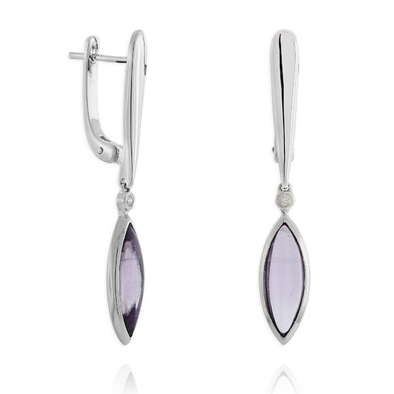 Marquise Amethyst Dangle Earrings 14K