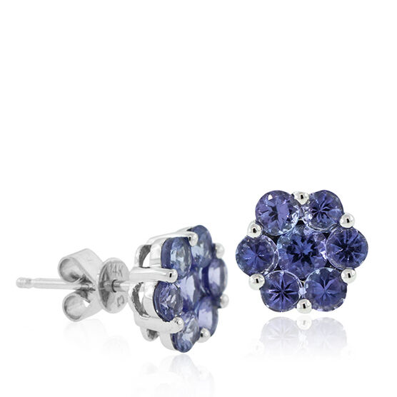 Tanzanite Flower Earrings 14K