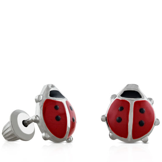 Baby Ladybug Earrings in Silver