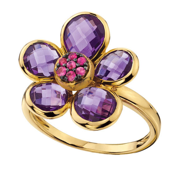 Amethyst Flower Ring 14K