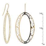 Oval Cut Out Flower Dangle Earrings 14K
