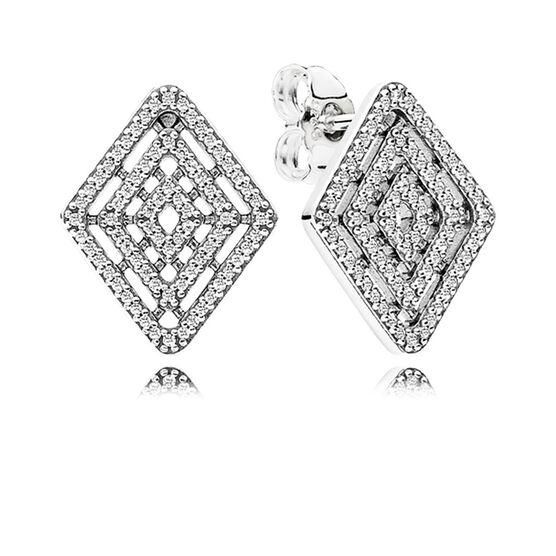 PANDORA CZ Geometric Lines Stud Earrings