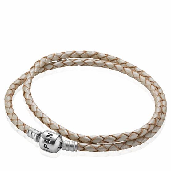 PANDORA Champagne Leather Clasp Bracelet