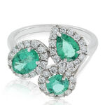 Emerald & Diamond Cluster Ring 14K