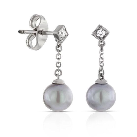Dyed Freshwater Cultured Pearl & Diamond Earrings 14K