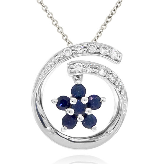 Sapphire & Diamond Pendant 14K