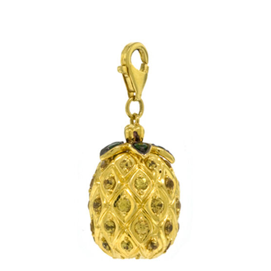 Gemstone Pineapple Charm / Pendant 14K