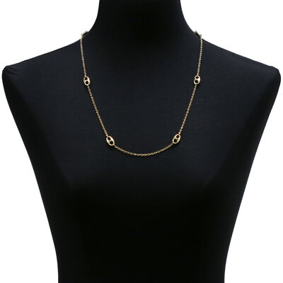 Toscano Double Eyelet Necklace 14K