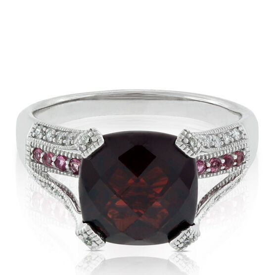Cushion Garnet, Tourmaline & Diamond Ring 14K