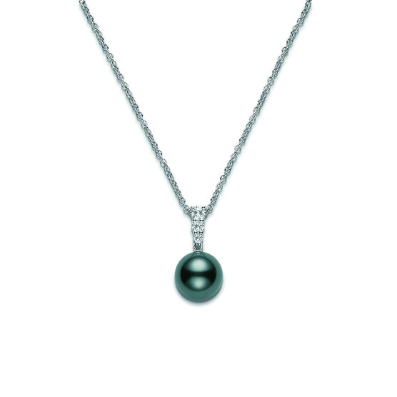 Mikimoto Tahitian Cultured Pearl & Diamond Pendant, 10mm, A+, 18K