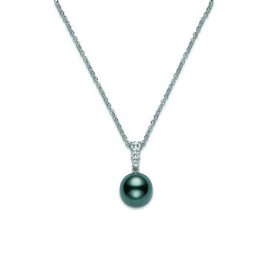 Mikimoto Tahitian Cultured Pearl & Diamond Pendant, 10mm, A+, 18K
