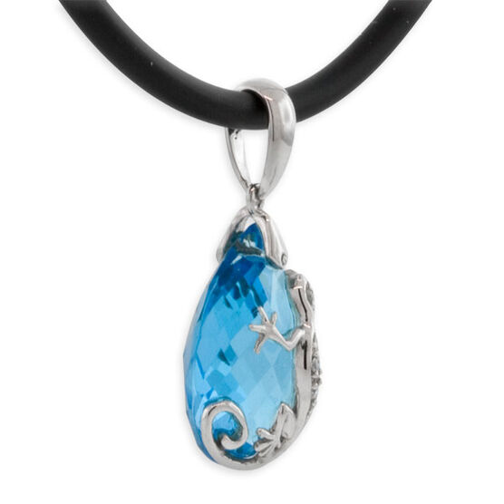 Blue Topaz & Diamond Gecko Pendant 14K