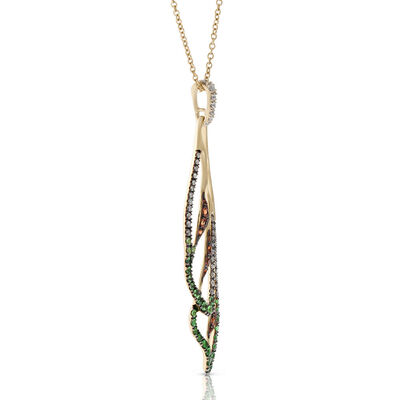 Orange Sapphire, Tsavorite & Diamond Wing Pendant 14K