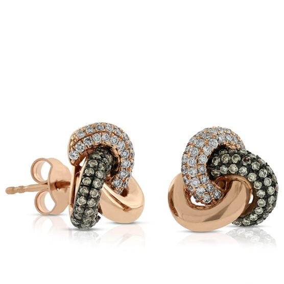 Rose Gold Brown & White Diamond Knot Earrings 14K