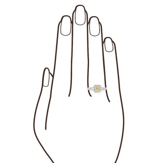 Radiant Cut Yellow Diamond Halo Ring, .60 Ct. Center, 18K