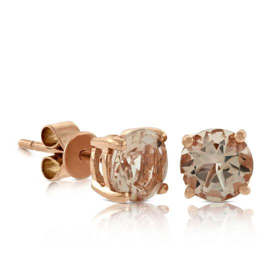 Morganite Stud Earrings 14K Rose