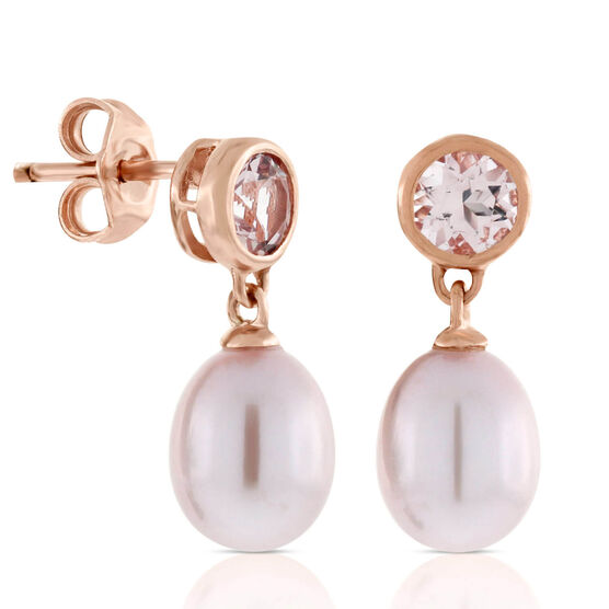 Freshwater Cultured Pearl & Morganite  Earrings 14K Rose