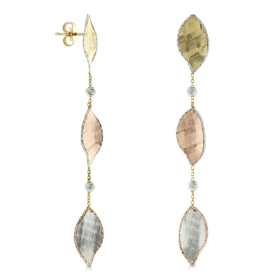 Toscano Collection Leaf Dangle Earrings 14K