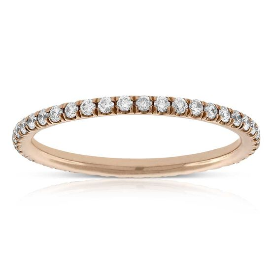 Rose Gold Diamond Eternity Band 14K, Sz 6