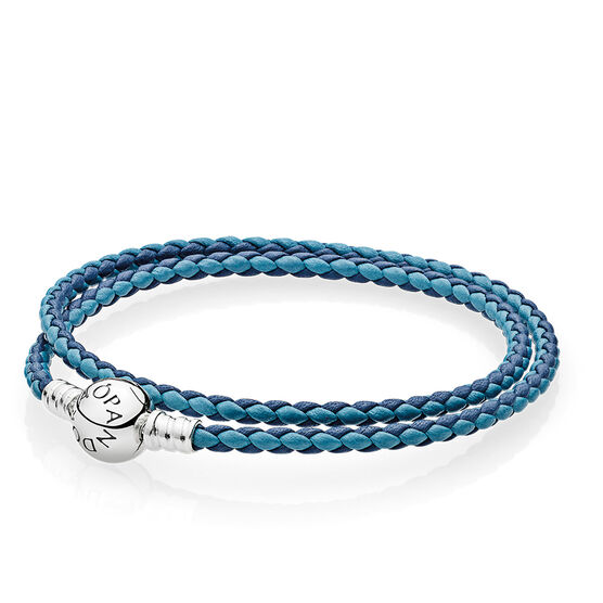 PANDORA Mixed Blue Double Leather Bracelet