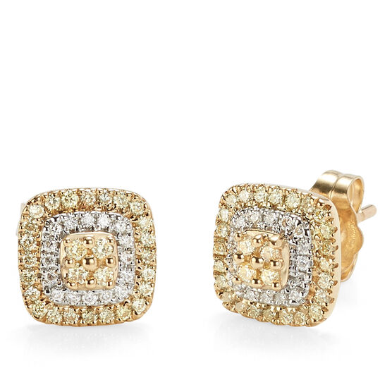 Yellow & White Diamond Double Halo Stud Earrings14K