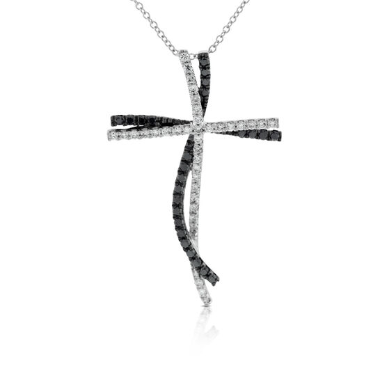 Black & White Diamond Cross Pendant 14K