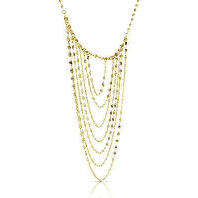 Multi-Strand Bib Necklace 14K