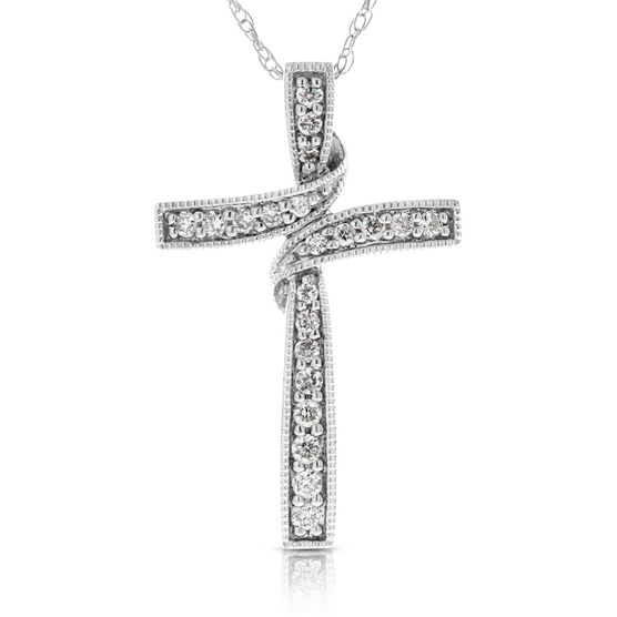 Diamond Cross Pendant 14K