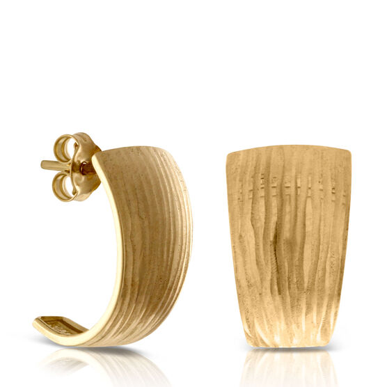 Toscano Collection Textured J Hoop Earrings 14K