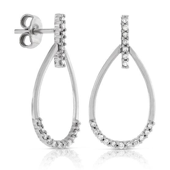 Diamond Open Pear Dangle Earrings 14K