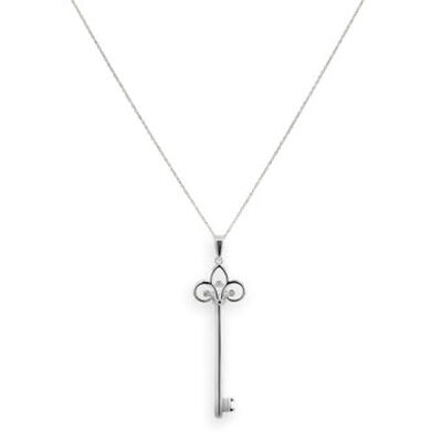 Diamond Key Pendant in Sterling Silver
