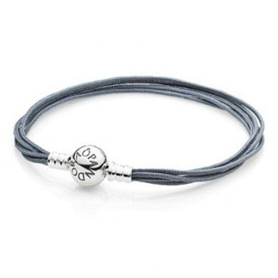 PANDORA Multi-Strand Gray Cord Bracelet RETIRED