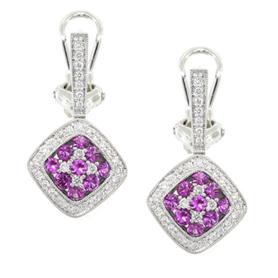 Pink Sapphire & Diamond Earrings 18K