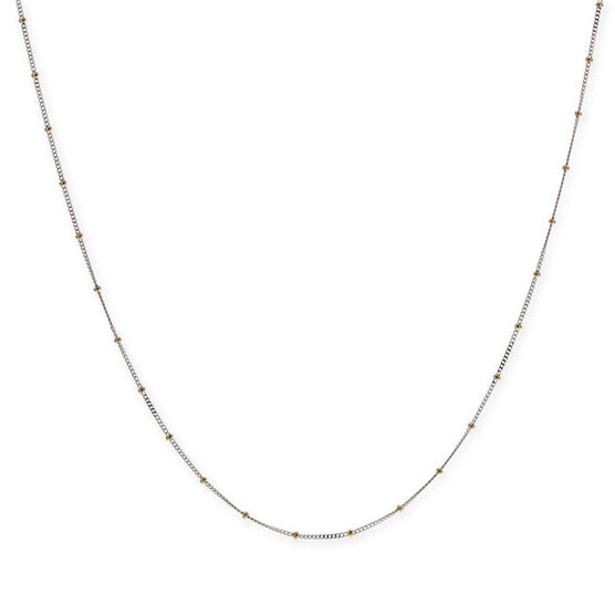 Flat Curb Chain with Bead Stations 14K, 18""