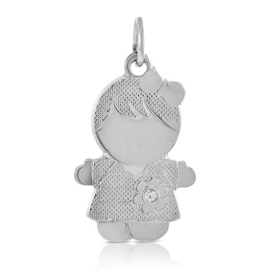 Girl Charm / Pendant with Diamond 14K