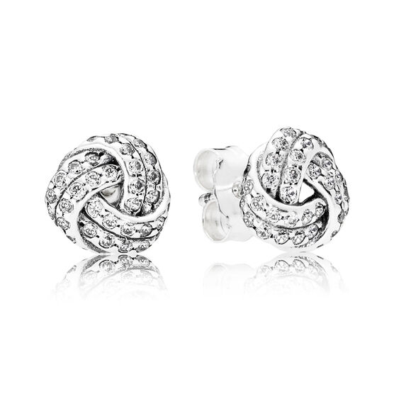 PANDORA Sparkling Love CZ Knot Earrings