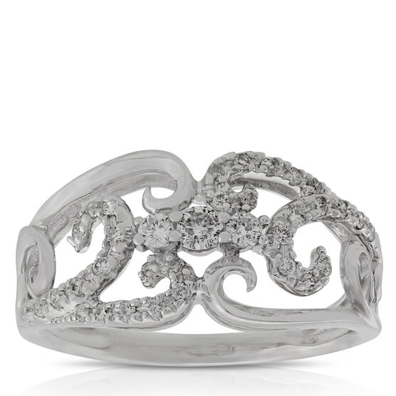 Diamond Scroll Ring 14K