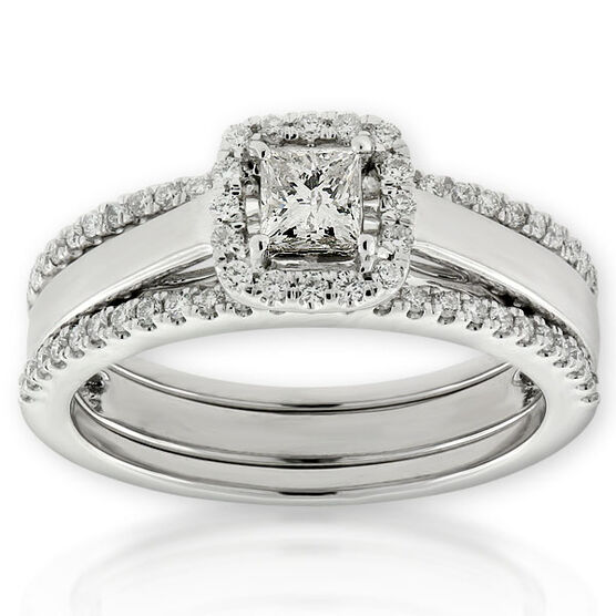Double Band Diamond Wedding Set 14K