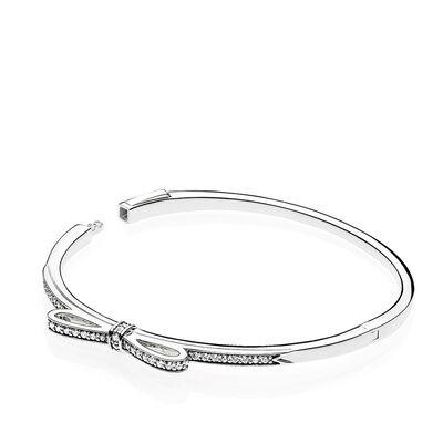 PANDORA Sparkling Bow CZ  Bangle Bracelet