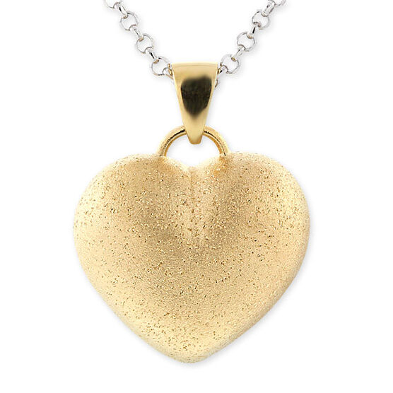 Puffed Heart Pendant, 18K over Sterling Silver