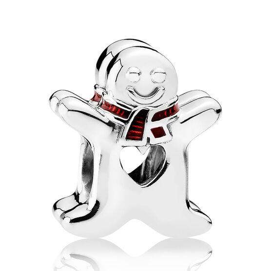 PANDORA Sweet Gingerbread Man Charm, Red Enamel