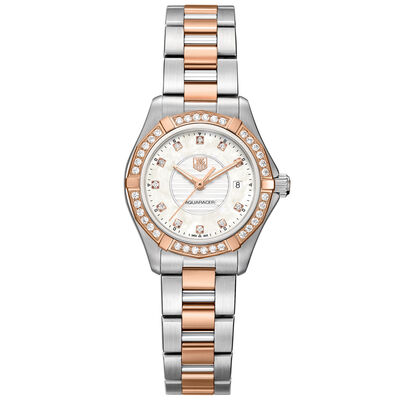 TAG Heuer Aquaracer Lady Steel & Rose Diamond Bezel Watch, 27mm