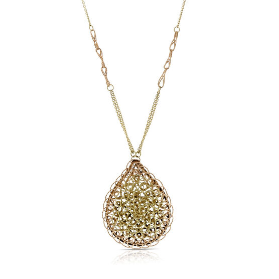 Toscano Collection Woven Pendant Necklace 14K