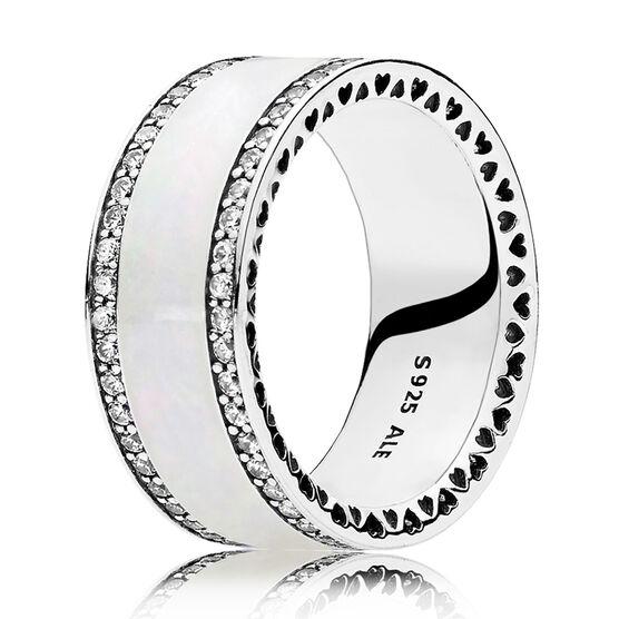 Hearts of PANDORA, Silver Enamel & Clear CZ Ring