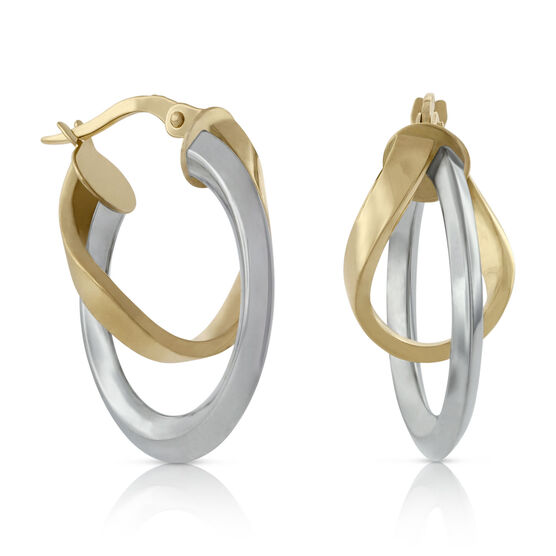 Toscano Twisted Two-Tone Double Hoop Earrings 18K