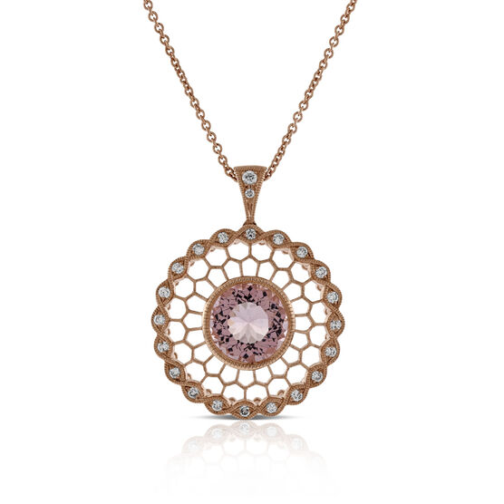 Rose Gold Morganite & Diamond Pendant 14K